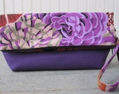 Fold Over Clutch Purse Bag, with Wristlet Strap & Zipper Closure - Purple with Flowers