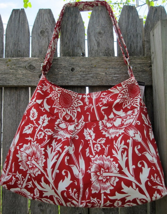 Red with White Flowers Gracie Hobo Purse