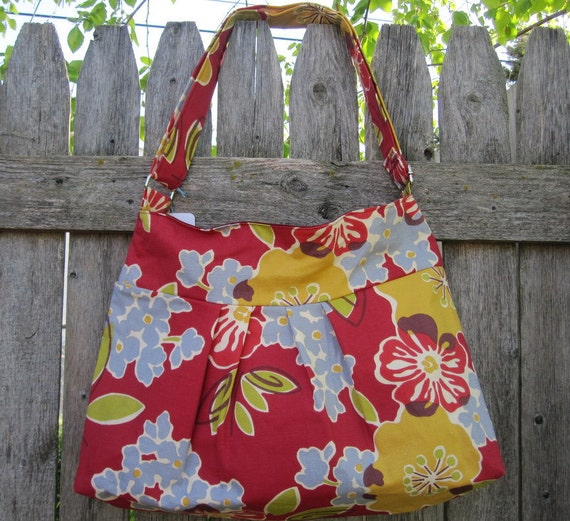 Hobo Purse Cross Body Bag with Zipper Closure - Red, Yellow and Blue Flowers