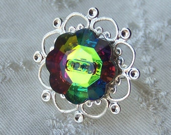 Rainbow sparkle ring on silver heart band