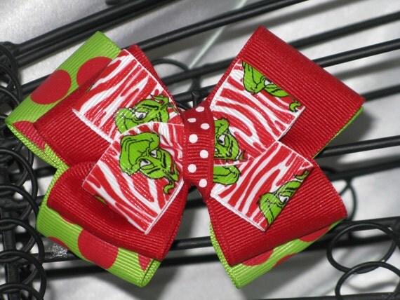Hair Bow- Red Zebra Print Grinch