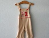"""Vintage 70's Tan """"71"""" Appliqued  Boys Toddler Overalls"""