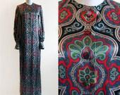 Vintage Evelyn Byrnes Long Paisley Silk Dress
