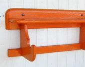 Vintage Petite Cottage Style Wooden Wall Shelf Tangerine Orange Color