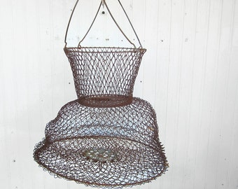 Vintage Rusty Collapsible Fish Basket Made In France