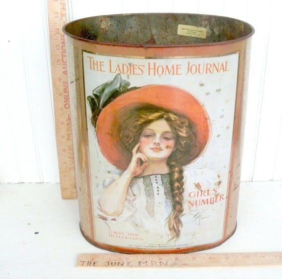 Vintage CHEINCO Trash Can With Early 20th Century The Ladies Home Journal Cover