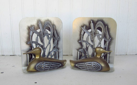 Vintage Brass Bookends By Metzke Brass & Pewter Brass Duck Bookends Circa 1980 Man Cave