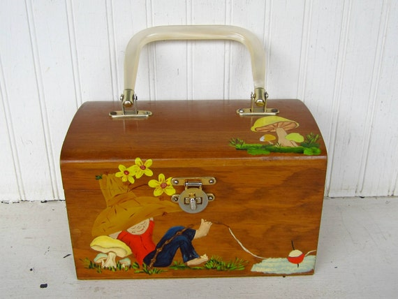 Vintage Wood Box Purse Hand Painted With Lucite Handle 1960s