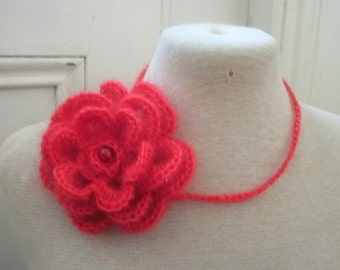 Lovely crochet red necklace in mohair