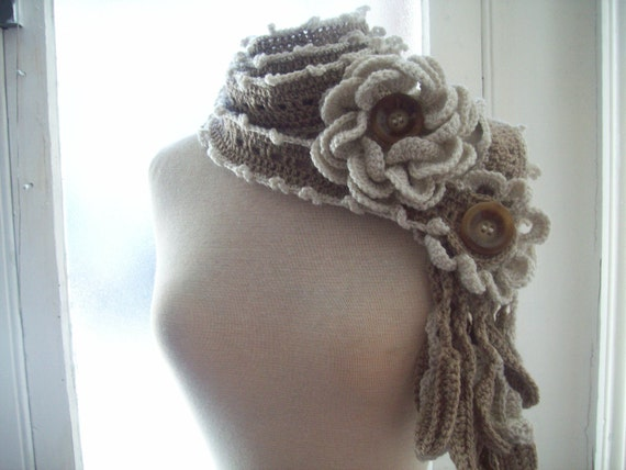 Lovely long crochet flowers and leaves nutty and ivory color  lariat scarflette scarf