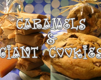 Mix Box Giant Chocolate Chip Cookies and 1/2lb Chewy Salted Caramels