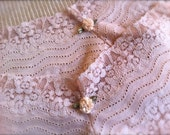 Handmade Stretch Lace Panties Cream Colored With Flower Accent