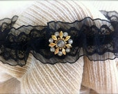 Black Lace and Organza Garter with Gold and Diamond Rhinestone Accents