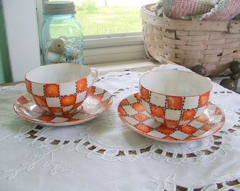 TEA SET Very Old Thin Hand Painted Orange Checkerboard Cups & Saucers 1940s