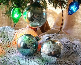 SHINY BRITE Ornament. 1950s Christmas Decoration. 3 ornaments. Silver Blue. stenciled ornaments. candles w/ greenery. Made in USA.