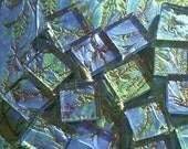 "1"" Van Gogh Mosaic tiles keylargo bluegreen handcut 144 glass tile 1sqft"