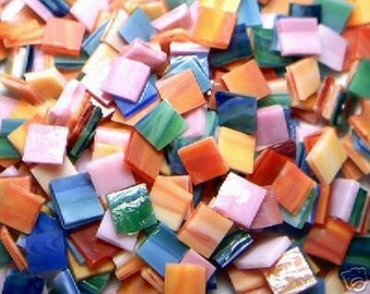 100 Summer Colors Mosaic Stained Glass Tiles 1/2 inch