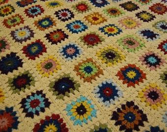 "Sunburst Granny Square Afghan (40"" x 48"")"