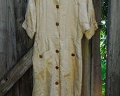 Tan Linen 40s Dress with Brown Buttons