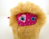Liebe the plush monster miniature golden brown tan and hot pink Little Uggle