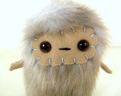 Edwin the plush monster miniature pastel blue and beige stuffed animal