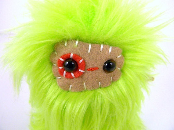 Lurg the plush monster miniature lime green and brown Little Uggle
