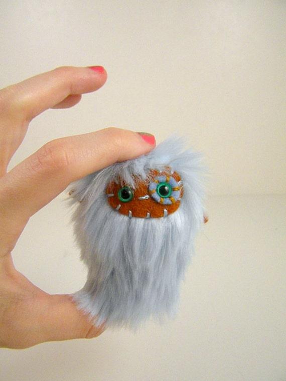 Hubert the plush monster miniature pastel blue and burnt brown Little Ugglette