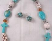 Turquoise Cross Necklace Mosaic Magnesite
