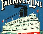 Fall River Line Ship - NY to Boston Matchbook PRINT, Steamship Travel, Gift for Wall Decor.
