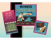 Bingo at the Lucky Strike Club! Vintage Matchbook PRINT of old Gambling Casino 1950s 1960's, Las Vegas Wall Decor, Gift for Gamblers!