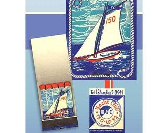 Sailing Art Print 1930s New York Sailboat Wall Decor Blue Bathroom Decor Bathroom Wall Print Blue White Sailboat Matchbook Art Retro NY Ad