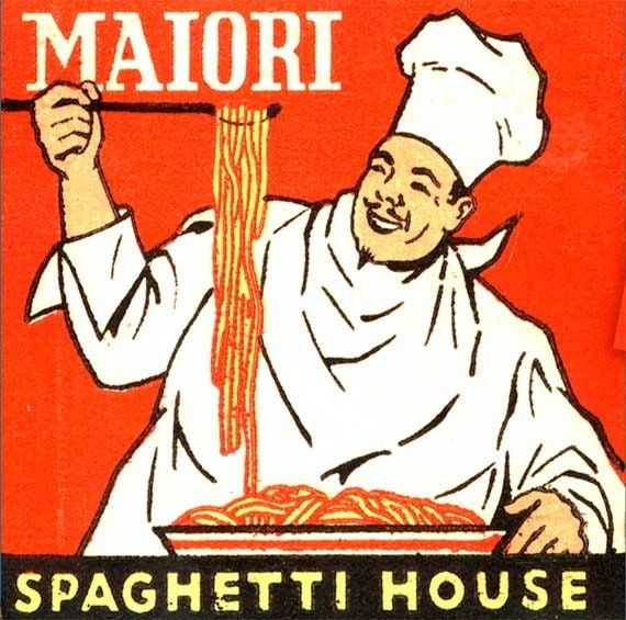 Italian Food Matchbook PRINT- NY Cook with Spaghetti, Kitchen Wall Decor, Great Gift, Home Decor.