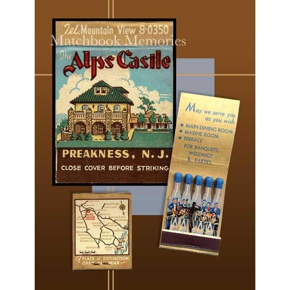 Alps Castle Preakness New Jersey Wall Decor Matchbook Art PRINT Decor 1950s Music Wall Decor NJ Bar Wall Decor NJ Den Wall Art Orchestra Art