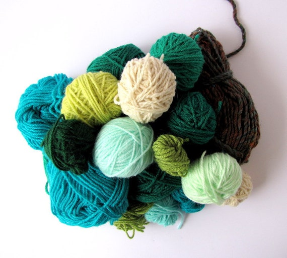 A bag of green wool