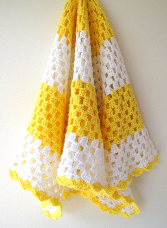 Crocheted Afghan Blanket No. 15 - Yellow and White