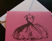 Berry Pink Vintage Inspired Ball Gown Note Card Set of 30 watermelon pink notecards