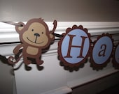 Monkey Happy Birthday Banner - DELUXE 1st Birthday Package
