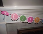 Personalized Name Banner for a baby shower, nursery, birthday, etc - colors can be customized.   Happy Birthday, New Baby, Twins, Its a girl