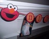 First year photo tag banner, N -12 Picture banner, photo banner, birthday banner, happy birthday, ELMO, Sesame Street