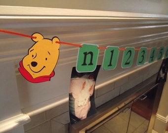 First Birthday Photo Banner- Winnie the Pooh & Tigger, I am 1, picture banner, disney, tigger, birthday decoration, first birthday, POOH,
