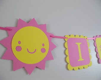 You are my sunshine birthday banner,  I AM 1 banner, photo prop, photography prop, GIRL birthday. first birthday. sun decorations, sunshine