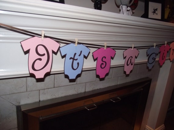 Its a girl baby shower banner, baby shower decoration, onesies,