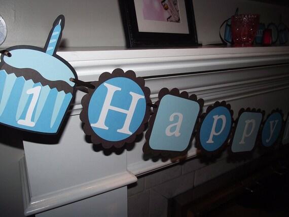 Cupcake Happy Birthday Banner, garland/bunting/banner,boy birthday, girl birthday, cupcake decorations, cupcake birthday. cupcake theme