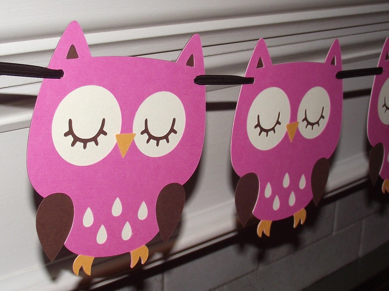 Owl garland bunting banner nursery decorationbaby shower for Baby owl decoration