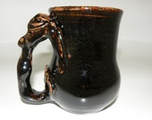 Handmade Ceramic Coffee Cup w/Mermaid Handle