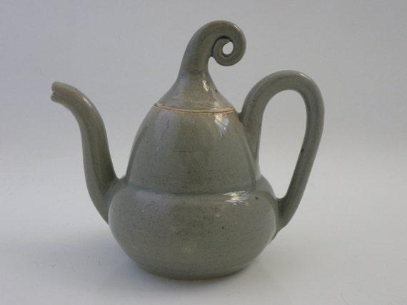 Reserved for Shelly.   Handmade,wheel thrown, ceramic teapot in green gray Celadon glaze
