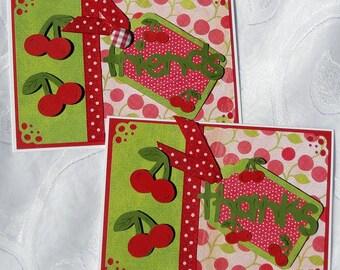 SALE Cherries on Top Cards Set of 2