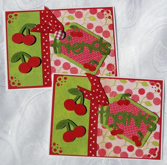 SALE Cherries on Top Cards Set of 2
