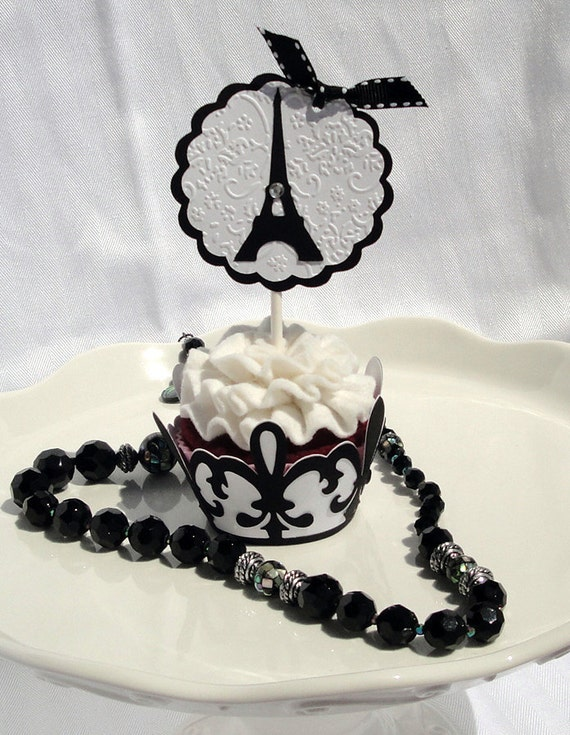 eiffel tower cupcake toppers set of 12