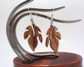 Tulipwood / Sterling Silver Tropical Leaf Earrings